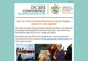 Community Foundations of Canada eBlast to promote the 2013 Conference
