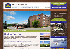 Interface Design for the Best Western Renfrew Inn website