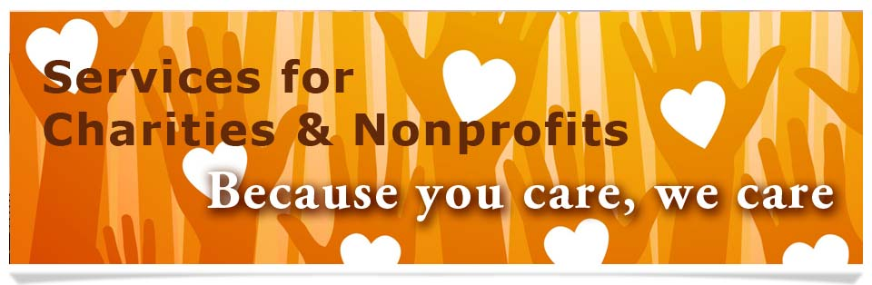 Services for Charities & Nonprofits - image of hands with hearts reaching upwards