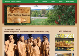 Image of the home page of the Valley Carver website